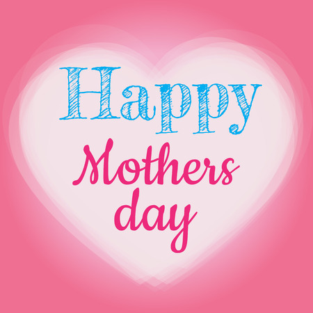 mothering: Heart shape on pink background with text Happy Mothers Day message. Illustration
