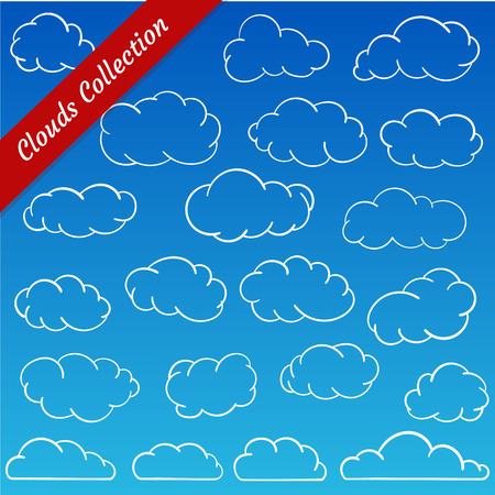 minimalistic: Cloud shapes collection. Cartoon clouds contours set simplified and minimalistic Illustration
