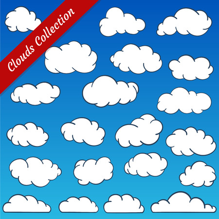Cloud shapes collection. Cartoon clouds contours set simplified and minimalistic Illustration