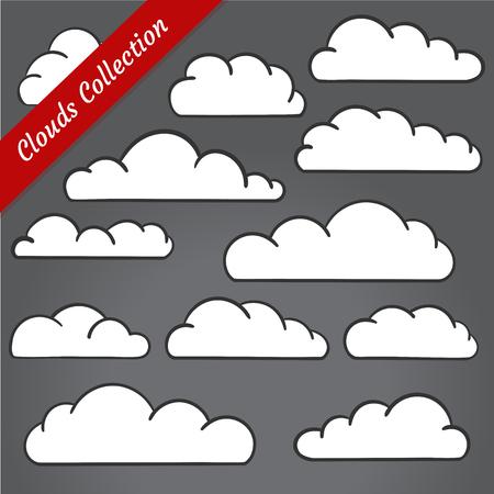 contours: Cloud shapes collection. Cartoon clouds contours set simplified and minimalistic Illustration