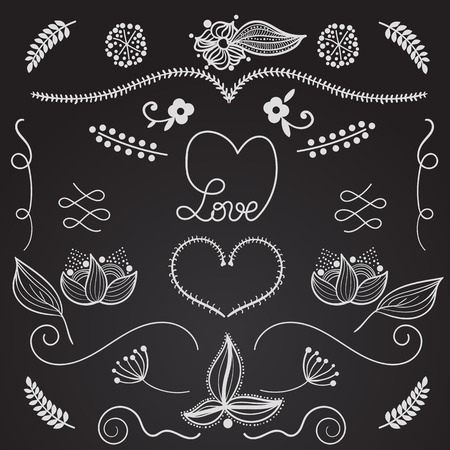 drow: Hand drow design elements  for invitations and greeting cards of different products for weddings St. Valentine and any other events. Beautiful floral motives, plants, leaf, heart, love. Vector set Illustration