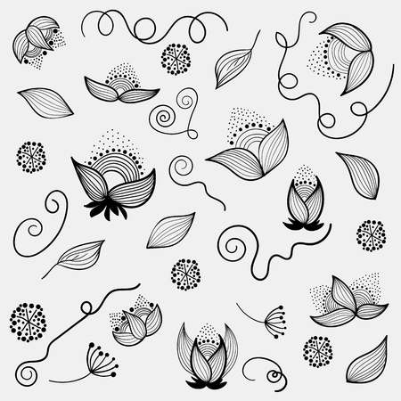 drow: Hand drow design elements  for invitations and greeting cards of different products for weddings St. Valentine and any other events. Beautiful floral motives, plants, leaf, flowers. Vector set