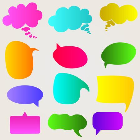 Speech bubbles set. Bright, gradient speech bubbles