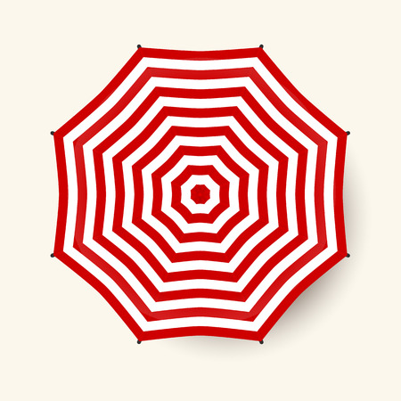 Umbrella top view. Red vector beach umbrella.