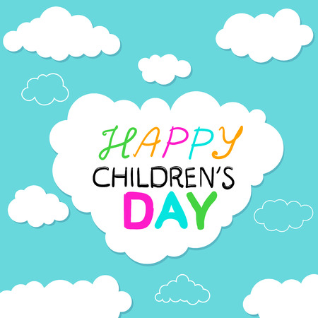 Holiday card with funny cartoon clouds on a blue background Childrens Day on 1st of June. Vector illustration