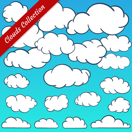 simplified: Cloud shapes collection. Cartoon clouds contours set simplified and minimalistic Illustration