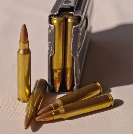 A single rifle magazine loaded with .223 caliber bullets with four bullets in front of it 写真素材