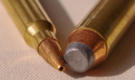 A 44 magnum bullets next to a 223 bullets with the ends of the bullets touching Stock fotó