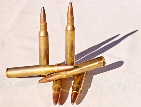 Six 30.06 caliber bullets together on a white background showing shadows 写真素材