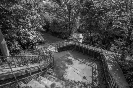 Steps in the woods in Highland Park, located in Pittsburgh, Pennsylvania, USA on a sunny day shot in black and white