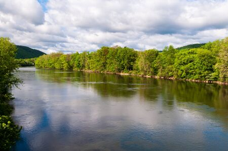 The Allegheny River in Warren County, Pennsylvania, USA on a sunny spring day