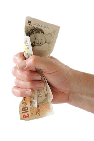 grabbing hand: Fist of Money Stock Photo
