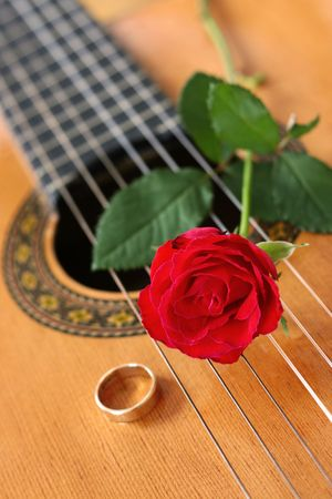 Classical Guitar & Red Rose Stock Photo