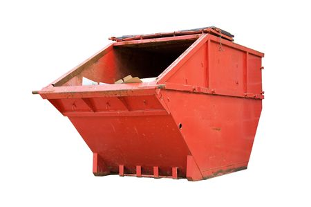 Red Industrial Waste Bin Isolated Over White photo