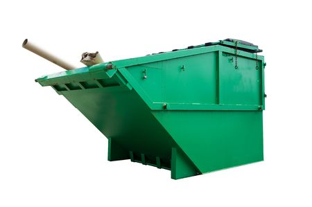 landfill site: Green Industrial Waste Bin Isolated Over White