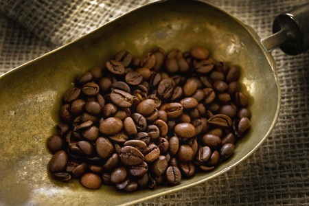 Brass scoop with coffee beans Stock Photo - 10190790