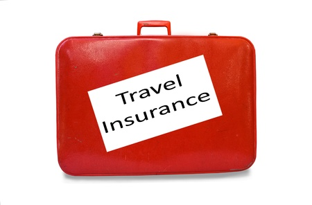 Red Suitcase Travel Insurance Stock Photo