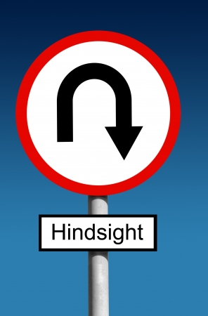 warning back: Round road traffic Hindsight sign with curved arrow business planning concept