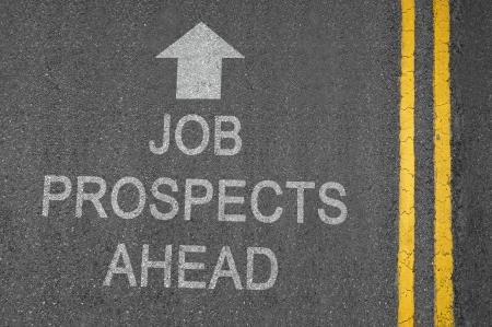 Job Prospects Ahead white road surface sign with yellow lines