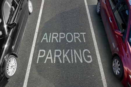 Airport Parking bay with white markings Stock Photo