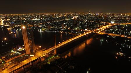 bangkok NIGHT: bangkok night aerial over the river Editorial