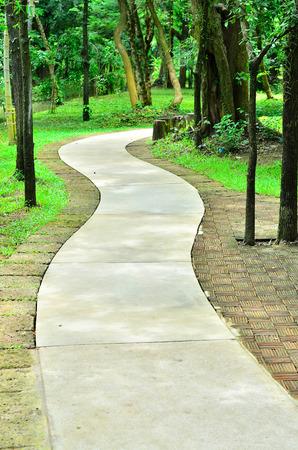 Concrete walking way in a park. photo