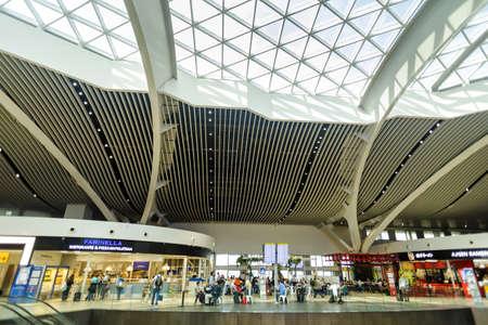 ROME, ITALY - OCTOBER 30, 2019: Modern interior of Rome Fiumicino International Airport Leonardo da Vinci