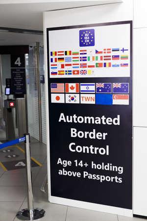 ROME, ITALY - OCTOBER 30, 2019: Automated border control information board in Rome Leonardo da Vinci or Fiumicino Airport