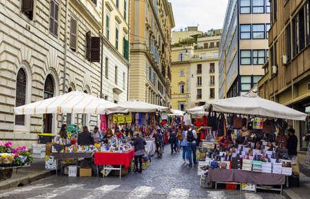ROME, ITALY - OCTOBER 25, 2019: Street market Viminale in street Via Cesare Balbo in Rome, Italy