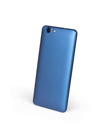 Blue mat mobile smart phone standing on white background viewed from back side 免版税图像 - 151093923