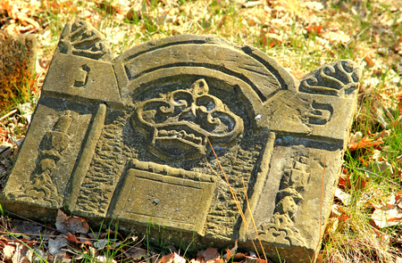 jewish: Zaklikw - Jewish cemetery. Old gravestones. Stock Photo