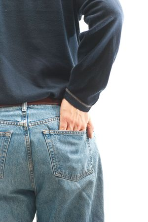 A man wearing jeans, with his hand in his back pocket, isolated on white. 版權商用圖片