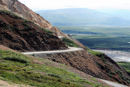 The winding mountain road in Denali National Park, Alaska
