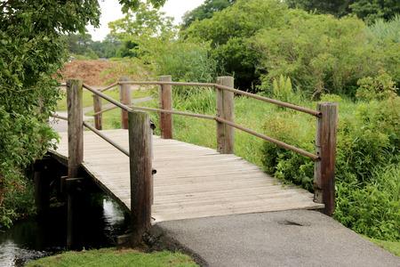 A wooden bridge at a local park in Babylon, NY