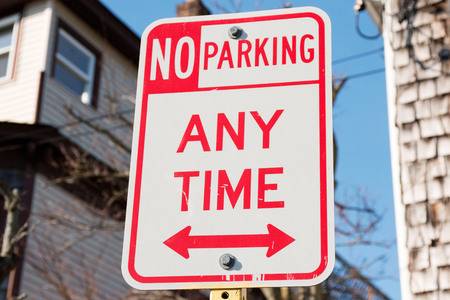 No parking any time sign in a local village Stockfoto