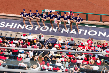 Washington DC, USA - 4 July 2017 The Rockettes perform between innings for the fans at the New York Mets Versus The Washington Nationals baseball game on July 4, 2017. Editorial