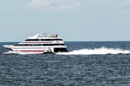 New London, Connecticut, USA – 27 July 2017: The SEA JET is a high-speed passenger-only service, crossing between New London, CT and Orient Point, NY in just 40 minutes. Making it easy to get to the casinos.