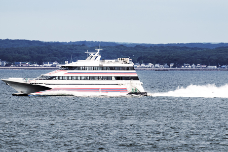 New London, Connecticut, USA – 27 July 2017: The SEA JET is a high-speed passenger-only service, crossing between New London, CT and Orient Point, NY in just 40 minutes. Making it easy to get ot the casinos.