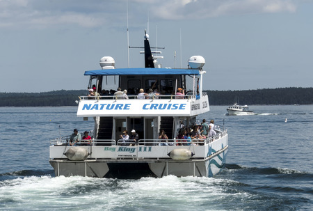Bar Harbor, Maine, USA – 28 July 2017: The Bay King III catamaran, of the Bar Harbor Whale Watch Company, leaving the docks with passengers on a whale watching nature tour. Editöryel