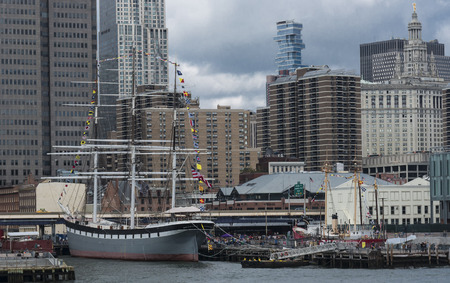 New York City, USA - 15 October 2017: The South Street Seaport is very active with tourists on a Sunday afternoon in October .