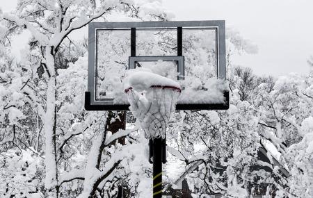 バスケットボールのフープは、ニューヨーク州ロングアイランドの春の雪の嵐の後、雪に覆われた木々で雪でいっぱいです。