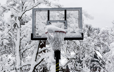 A basketball hoop is full of snow with trees covered in snow in the background after a spring snow storm in Long Island, New York.