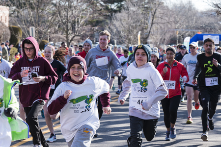Garden City, NY, USA – 24 March 2018: Start at the Run for Tomorrows Hope Foundation 5K, to support Catholic Education on Long Island. Editorial