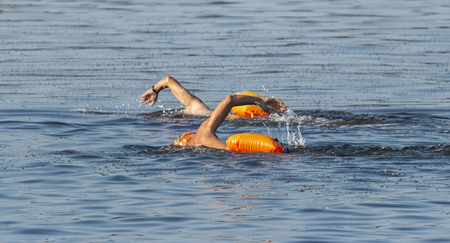 Two male swimmers are swimming outdoors in the Long Island Sound with oange floatation devices floating behind them for safety. 写真素材