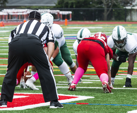 The quarterback is about to take the snap in a high school football game, with the official looking on. Stok Fotoğraf