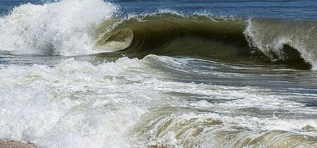 Large waves crashing on to the beaches of The Fire Island National Sea Shore.
