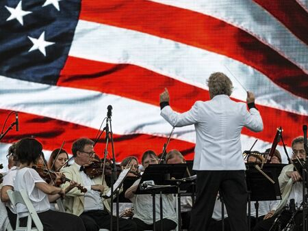 East Islip, NY, USA - 13 July 2019: The Long Island Concert Orchestra performs for free at night at Heckscher State Park.