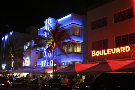 South Beach, Miami, USA - 15 February 2009: South Beach Ocean Drive Miami strip is very active on a February night.as tourists and locals enjoy the restaurants and bars.