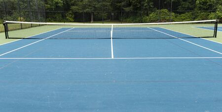 A neighborhood tennis court with a tall black fence surrounded by trees.