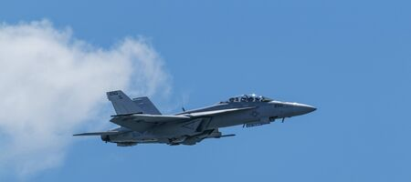 Wantaugh, New York, USA - 24 May 2019: The United States Navy FA-18 Super Hornet tactical demenstration team performing at Jones Beach on Memorial Day weekend.